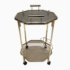 Gold-Plated & Smoked Glass Serving Trolley from Morex, 1980s