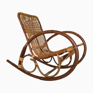 Rocking-chair Mid-Century en Osier