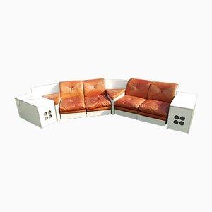 Grand Canapé d'Angle Mid-Century avec Enceintes