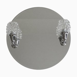 Mid-Century Chrome Mirror with Bubble Glass Sconces from Richard Essig, 1970s