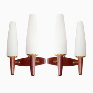 Mid-Century Danish Teak, Brass, and Glass Sconces from Temde, 1960s, Set of 2