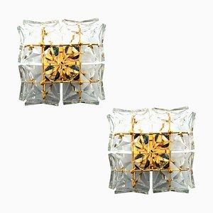 Mid-Century Crystal and Gilded Brass Sconces from Kinkeldey, 1960s, Set of 2