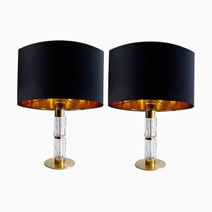 Large Mid-Century Glass and Brass Table Lamps from Kaiser Idell / Kaiser Leuchten, 1960s, Set of 2