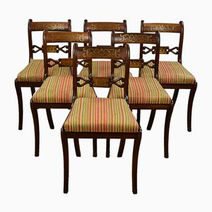 Vintage Mahogany & Brass Dining Chairs, Set of 6
