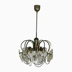 Mid-Century Metal and Glass Ceiling Lamp