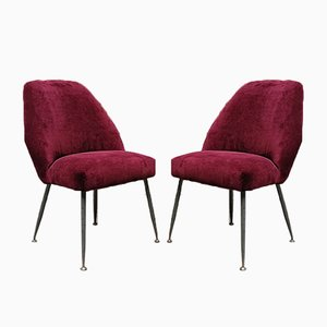 Italian Velvet Campanula Chairs by Carlo Pagani for Arflex, 1952, Set of 2