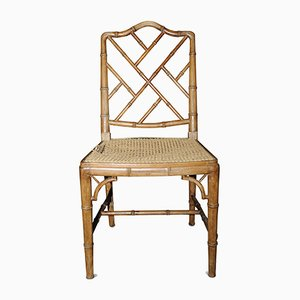 Chinese Chippendale Style Bamboo and Rattan Side Chair, 1930s