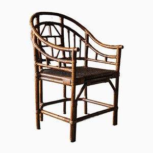 Chinese Chippendale Style Bamboo and Rattan Armchair, 1930s