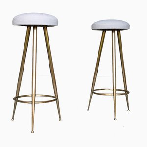 Mid-Century Brass Stools, Set of 2