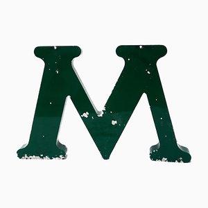 Grand Panneau Lettre M Vintage en Métal Vert, années 60