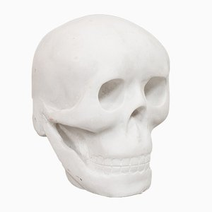 English White Marble Skull Paperweight, 1980s