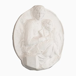 English Plaster Mother and Child Sculpture, 1980s