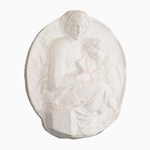 Escultura de madre e hijo inglesa vintage de escayola, años 80