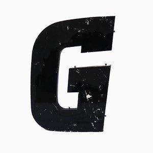 Lettera G grande vintage in metallo nero, anni '60