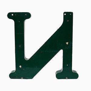 Grande Lettre N Vintage en Métal Vert, années 60