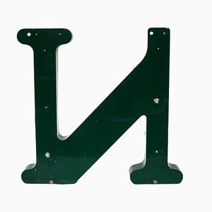 Lettera N grande vintage in metallo verde, anni '60