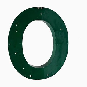 Large Vintage Green Metal Letter O Sign, 1960s