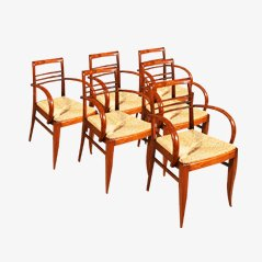 Art Deco Bridge Chairs in Oak and Straw, 1930s, Set of 6