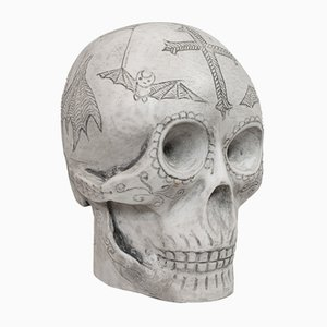Vintage English Marble Skull Paperweight by Dominic Hurley, 1980s