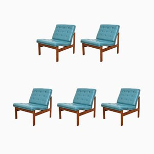 Danish Teak Lounge Chairs by Ole Gjerløv-Knudsen & Torben Lind for France & Søn / France & Daverkosen, 1960s, Set of 5