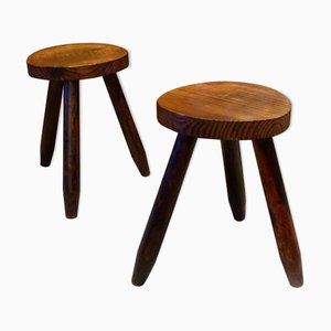 Mid-Century French Tripod Stools, Set of 2