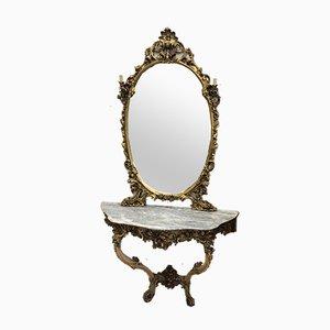 Consola veneciana antigua, espejo y apliques. Juego de 4
