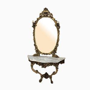 Venezianische Antike Konsole, Spiegel & Wandleuchten, 4er Set