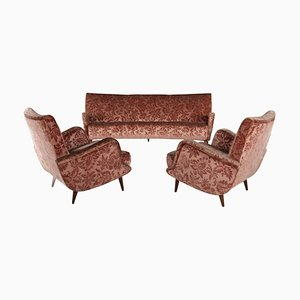 806 Armchairs & Sofa by Carlo de Carli for Cassina, 1950s, Set of 3