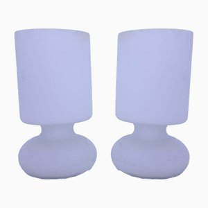 Vintage Frosted Glass Table Lamps, Set of 2