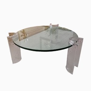 Large American Lucite & Glass Coffee Table, 1970s