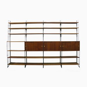 Large Teak Veneer Modular Shelf System by Kajsa & Nils ''Nisse'' Strinning for String, 1960s