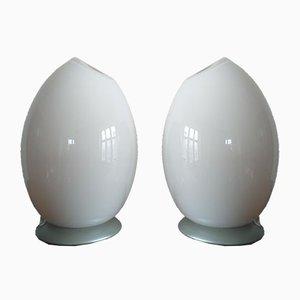 Lámparas de mesa de cristal de Murano de Sommerso, años 80. Juego de 2