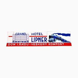Grande enseigne Lipner Grand Hotel en Émail, années 30