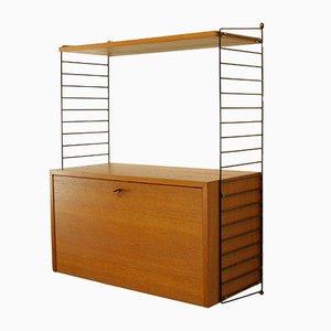 """Librería modular de chapa de fresno con mueble superior de Kajsa & Nils """"Nisse"""" Strinning para String, años 60"""