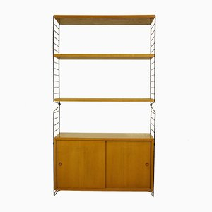 Modular Ash Veneer Bookcase with Cabinet by Kajsa & Nils ''Nisse'' Strinning for String, 1960s