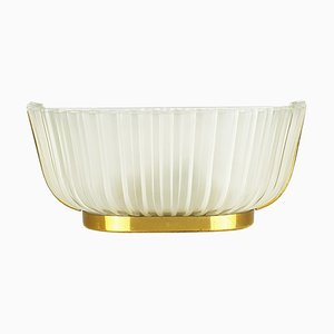 Mid-Century Italian Metal, Brass, and Molded Glass Sconce, 1950s