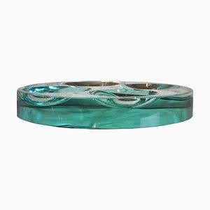 Abgeschrägte Mid-Century Glasschale von Fontana Arte, 1960er