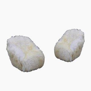 Fauteuils Mid-Century en Peau de Mouton Blanche par Gio Ponti pour Case e Giardino, Set de 2
