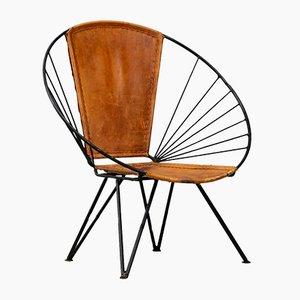 Ovale italienische Mid-Century Sessel aus Eisen & Leder, 2er Set