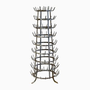 Vintage French Glass Bottle Rack, 1930s