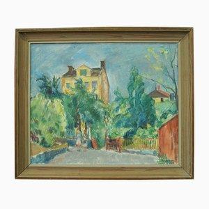 Pittura ad olio moderna di Edgar Wallin, Svezia, anni '50