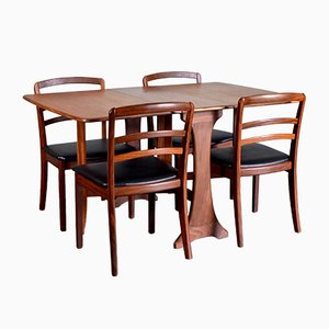 Teak and Leatherette Dining Table & Chairs Set from G-Plan, 1960s, Set of 5