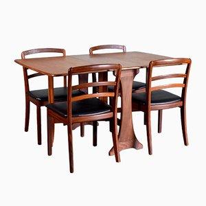 Teak & Kunstleder Esstisch & Stühle Set von G-Plan, 1960er, 5er Set