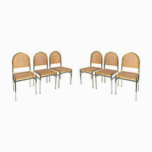 Hollywood Regency Italian Brass and Cane Dining Chairs, 1970s, Set of 6