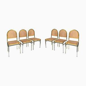 Italienische Hollywood Regency Esszimmerstühle aus Messing & Schilfrohr, 1970er, 6er Set