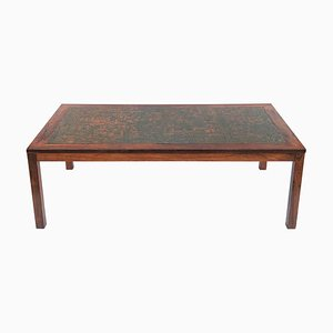 Large Mid-Century Danish Rosewood and Embossed Copper Coffee Table, 1960s