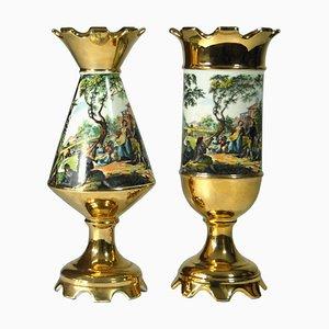 Italienische Porzellan Vasen von SSF, 1950er, 2er Set