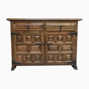 Antiw Spanish Baroque Carved Walnut Credenza