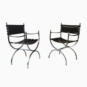 Savonarola Armchairs from Maison Jansen, 1970s, Set of 2