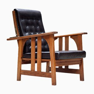 Antique Oak & Leather Armchair by Gustav Stickley